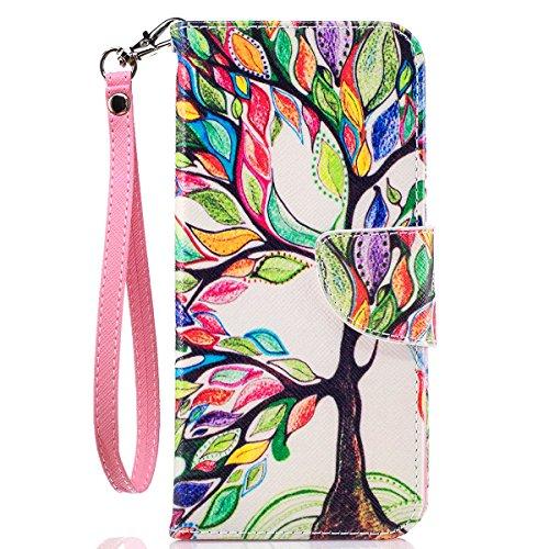 Galaxy S8 Case, S8 Wallet Case, Samsung S8 Case, JanCalm [Wrist Strap] [Kickstand] [Card/Cash Slots] Pattern Premium PU Leather Wallet Cell Phone Cases Flip Cover + Pen (Beautiful Tree)