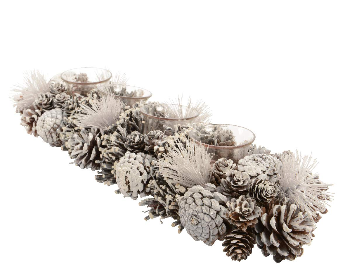 Festive FROSTY bianco glitter Pine cone Tea light Candle Holder–Woodland/Nordic Style–(contiene 4candeline)–47cm Buzz