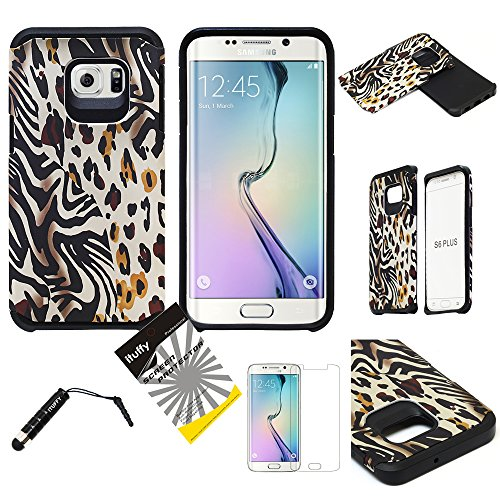 For Samsung Galaxy S6 Edge Plus G928 ITUFFY (TM) 3items Combo: Screen Protector + Stylus Pen + Dual Layer Impact Resistance Hybrid Armor Case (Gold Leopard Zebra Safari) Zebra Samsung Faceplates