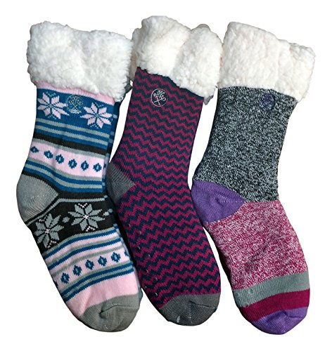 Frozen Folk Fleece-Lined Cozy Thick Winter Slipper Socks, Non-Skid Soles, Fluffy Warm ( 3 Pairs Pack A )