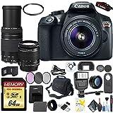 Canon EOS Rebel T6 DSLR Camera 18-55mm Lens Canon EF-S 75-300mm Lens, 64GB High Speed MEM Card Mega Accessory Combo