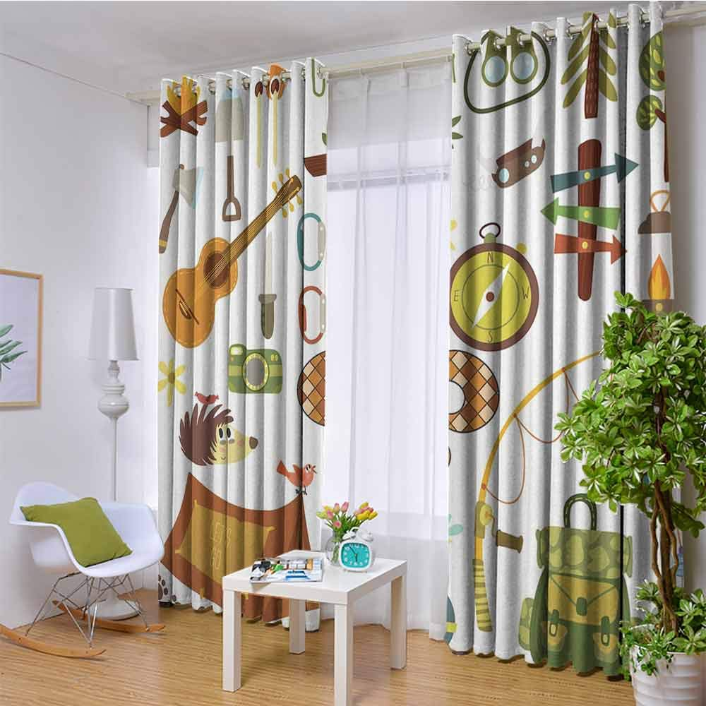 hengshu Fleur de Lis Shading Insulated Curtain Camping Equipments Boy Scout Campfire Symbol Fishing Lure Fancy Decorations Lake for Living Room or Bedroom W120 x L96 Inch Brown Mustard Green White by hengshu