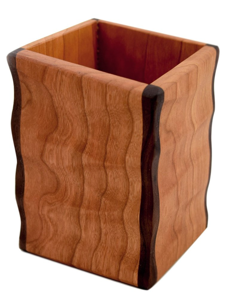 American Made Sculpted Cherry Wood Utensil Holder Crock by Modern Artisans