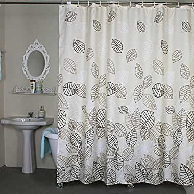 Bathroom Fabric Bath_Shower Curtain Set Leaves Bath_Shower Curtains and X-Long Extra Long Bath_Shower Curtain 72 x 78 for Bathroom