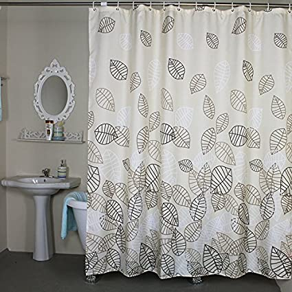 Welwo Bathroom Fabric Bath Shower Curtain Set Leaves Curtains And Stall 48 X 72