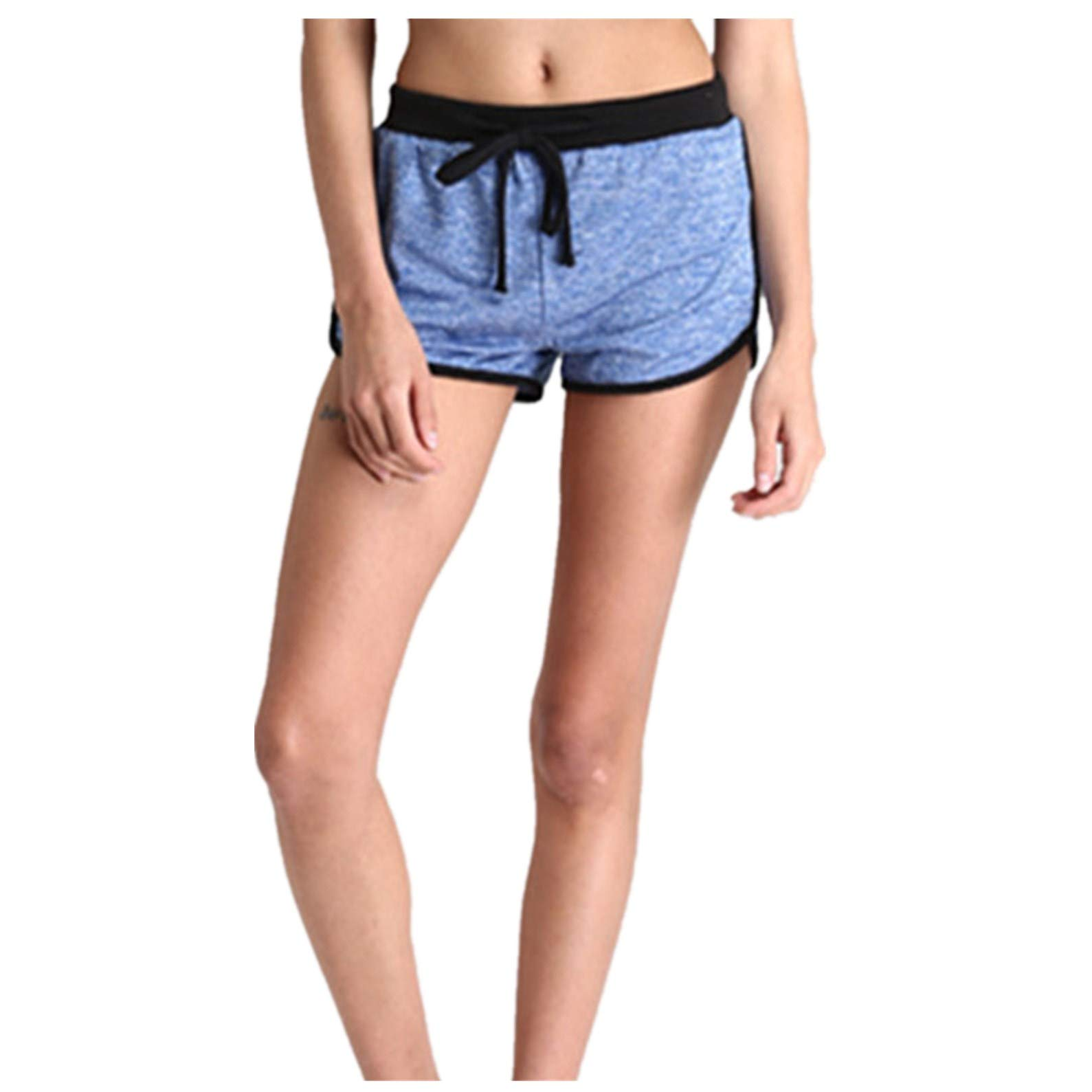 BSGSH Women's Contrast Trim Dolphin Yoga Workout Shorts Casual Comfy Lounge Shorts (M,Blue)