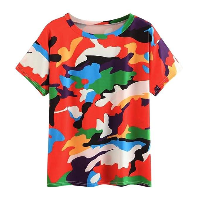 FAMILIZO Camisetas Mujer Verano 2018 Blusa Mujer Elegante Camisetas Mujer Originales Manga Corta Algodón Casual Camisetas Mujer Camuflaje Camisetas Mujer ...
