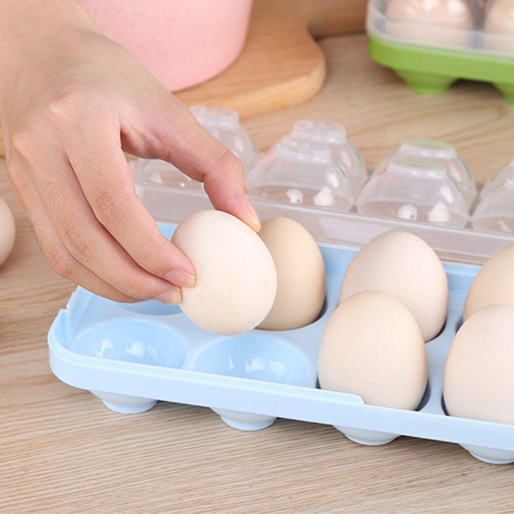 contenedor de almacenamiento de huevos para refrigerador multiusos para huevos y caja de transporte 26 * 10.5 * 7cm azul port/átil Bandejas para huevos