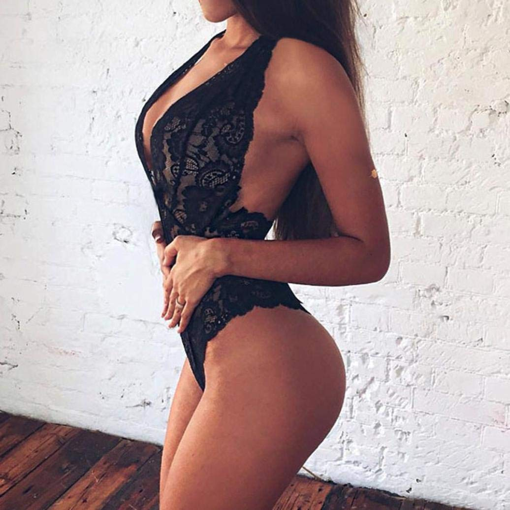 ❤ Modaworld Lencería Erotica de Mujer Ropa Interior Sin Respaldo De Encaje Babydoll De Encaje para Mujeres Ropa De Dormir lencería Sexy Mujer Tallas ...