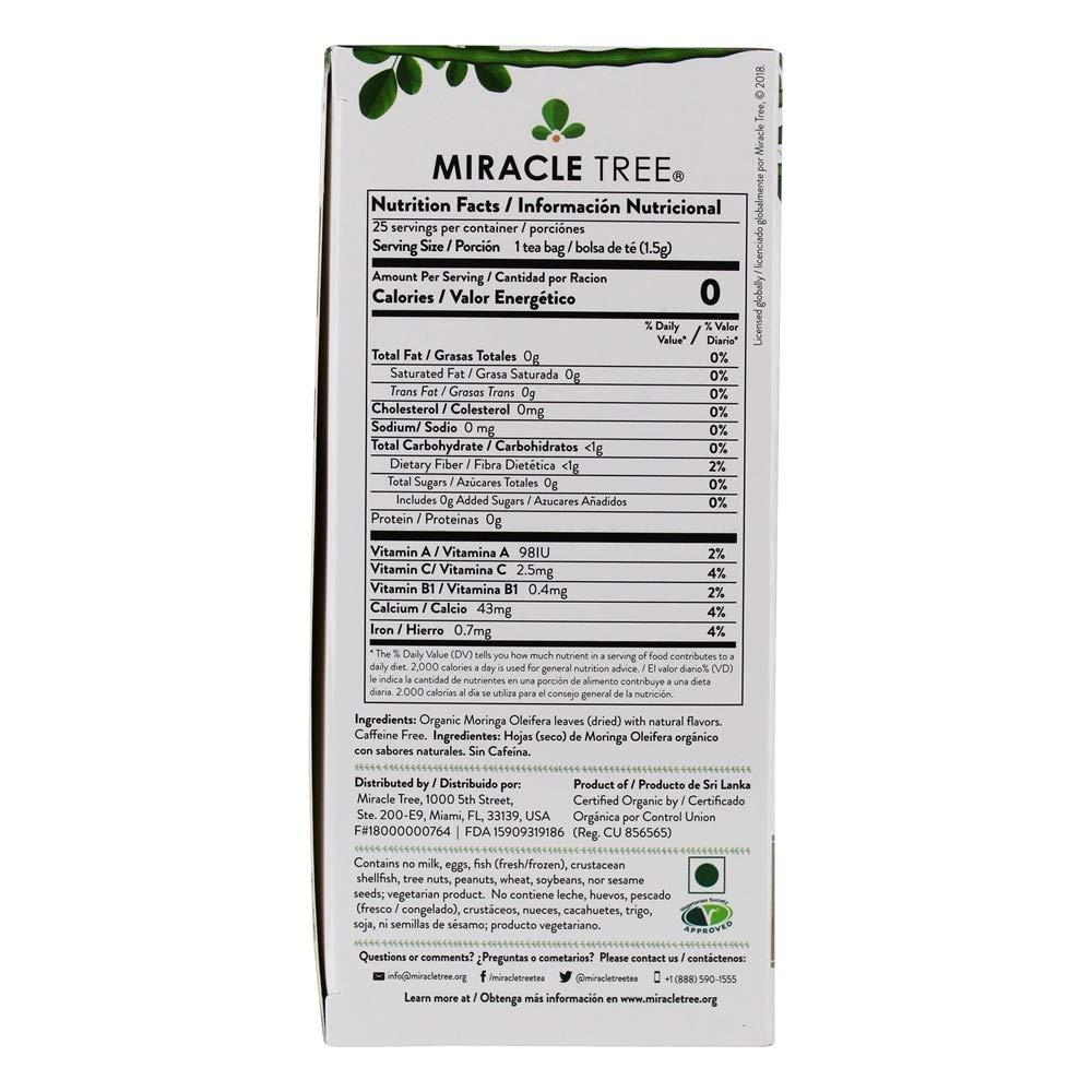 Miracle Tree - Jengibre orgánico del té de Moringa - 25Bolsitas de té: Amazon.es: Salud y cuidado personal