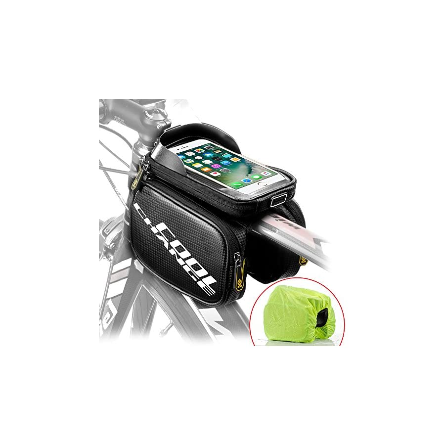 "Cool Change Bike Frame Bag Touch Screen | Tough Case | Large Safty Reflective| Mobile Cell Phone Bag Top Tube Bag for 6.2""Phone"