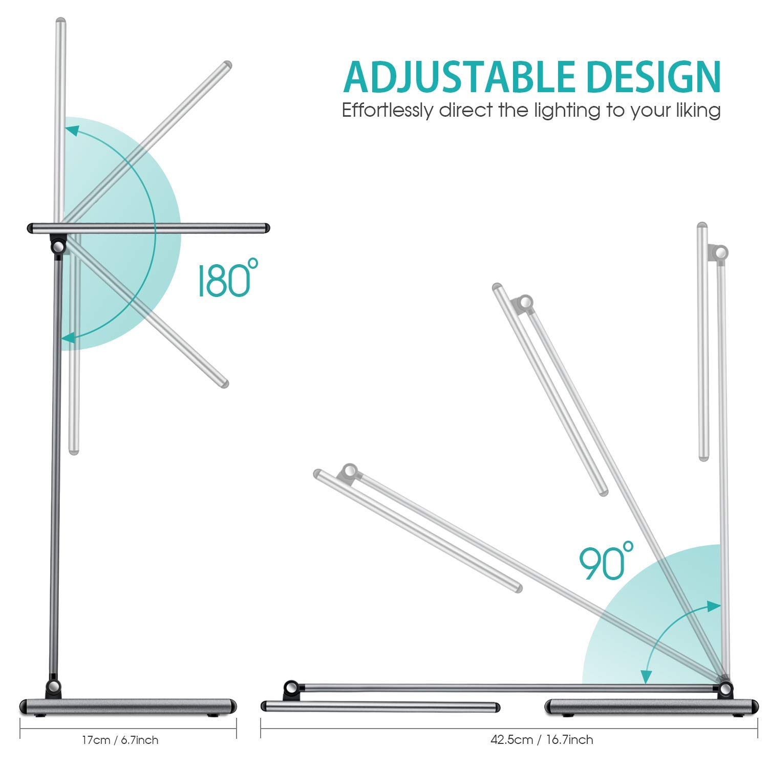 FXQ LED Desk Lamp - Aluminum Alloy Dimmable Table Lamps, Eye-Caring Office Lighting Study Lamp with Full Touch Control, Stepless Dimming and Faster USB Charging Port, 72 Non-Flicking LED Beads