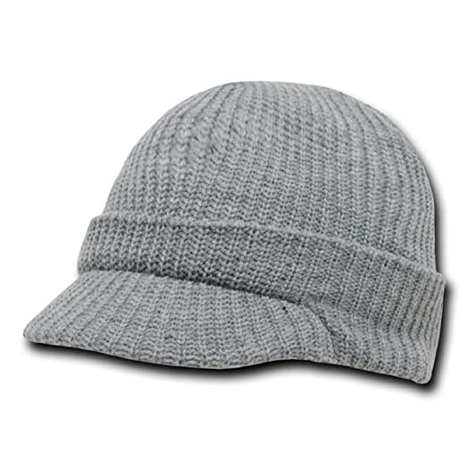 Amazon.com  DECKY Acrylic Knit GI Jeep Cap Beanie Hat (Grey)  Clothing 6f6c746bd80
