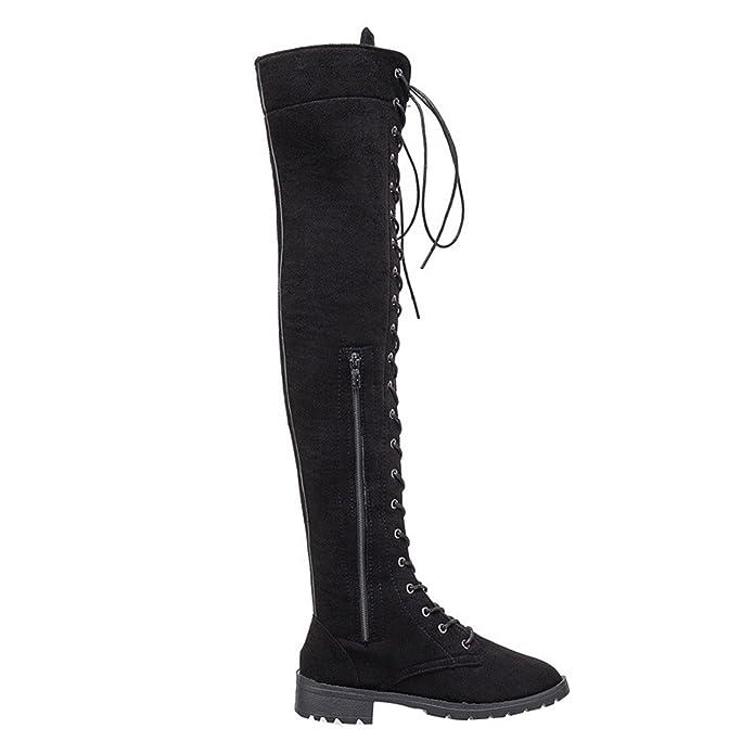 Frauen über Kniehohe Reitstiefel Schnüren Kleid Militär Kampf Beiläufig Flat Stiefel (39, Schwarz)