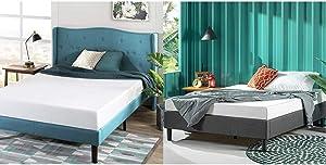 Zinus 6 Inch Green Tea Memory Foam Mattress/CertiPUR-US Certified/Bed-in-a-Box/Pressure Relieving, Queen & Curtis Platform, Queen, Grey