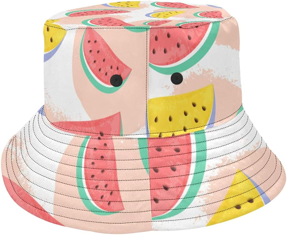 Watermelon Summer Fruits Pattern Summer Unisex Fishing Sun Top Bucket Hats for Kid Teens Women and Men with Packable Fisherman Cap for Outdoor Baseball Sport Picnic