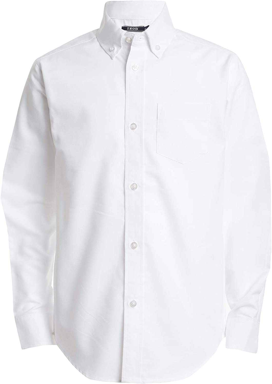 IZOD Boys' Long Sleeve Solid Button-Down Oxford Shirt