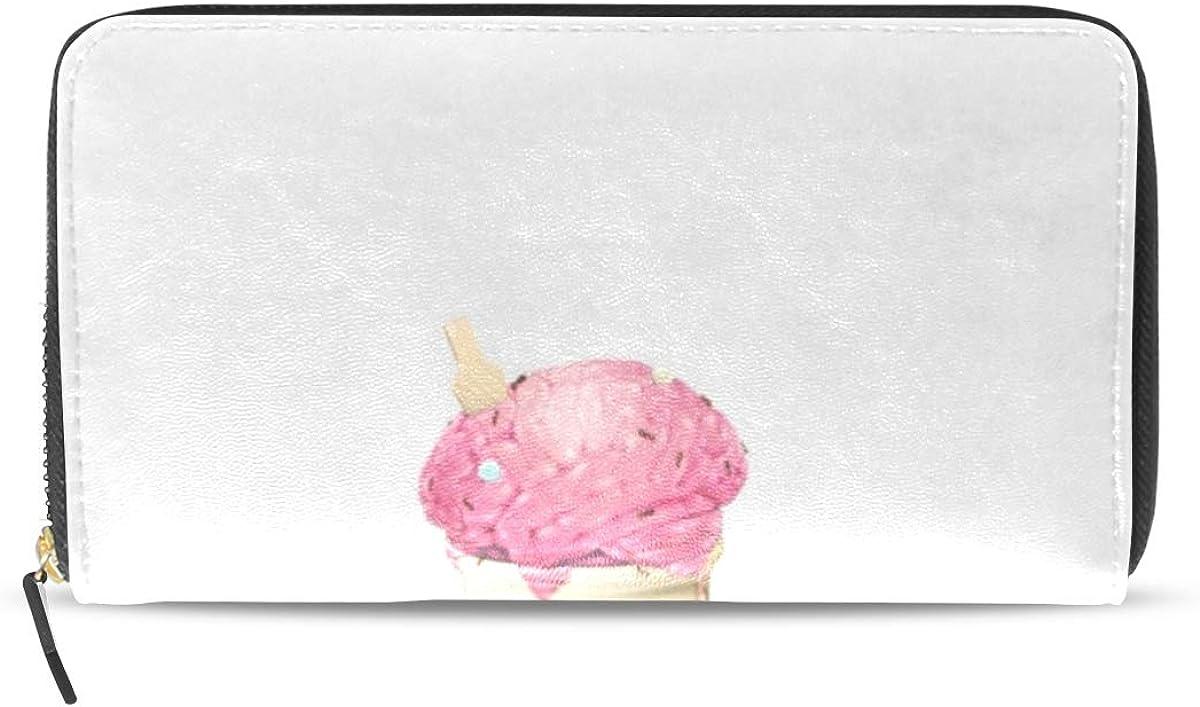 Cartoon Series Cute Ice Cream Like Red Microphone Women Wallet RFID Zip Long Wallets Phone Travel Card Holder Purse Clutch Multi Card Case