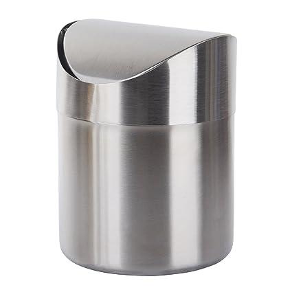 TWFRIC Papelera pequeña Metalica - Mini de Acero Inoxidable Cepillado para encimera de Oficina, Escritorio, baño u Cocina, Plata