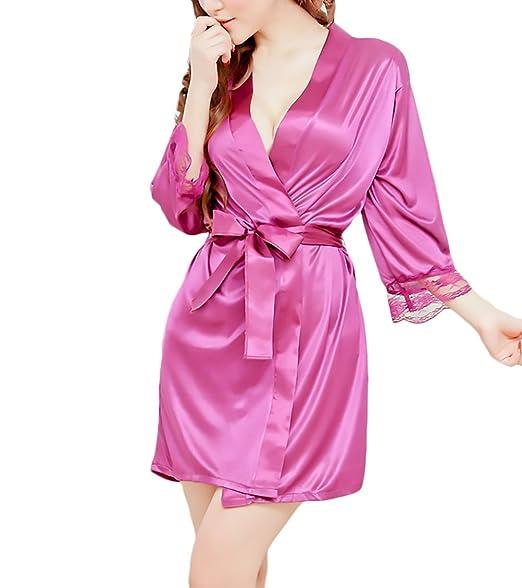 Saoye Fashion Kimono Mujer Batas Elegantes Satén Cortos Pijama Cómodos Suave Albornoz Lenceria V Cuello con