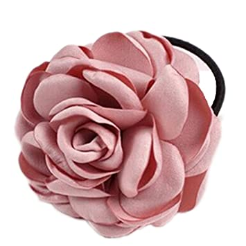 Amazon.com   super1798 Hair Band Rope Camellia Flower Ponytail Holder  Scrunchie Hairband Accessory - Pink   Beauty 10125be4154