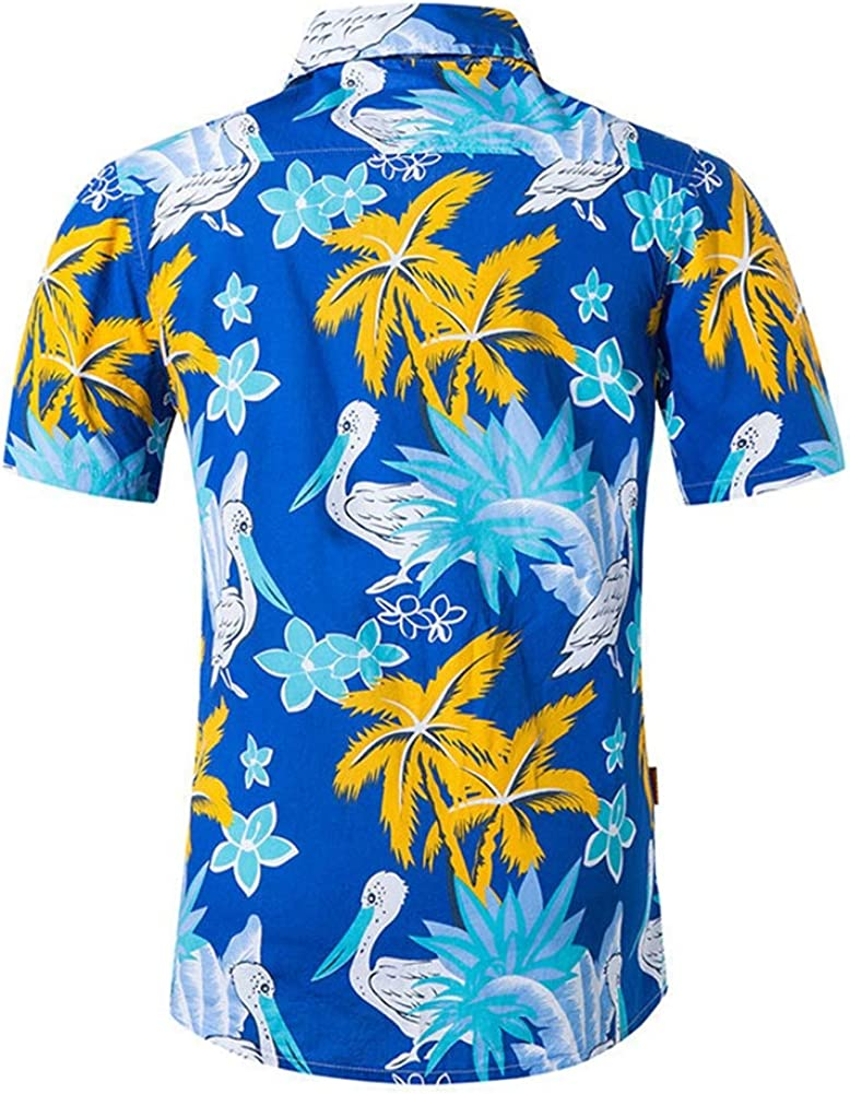 QHF Mens Hawaiian Printed Shirt Men Shirts Summer Beach Casual Short Sleeve Shirt Asian-Size1,M