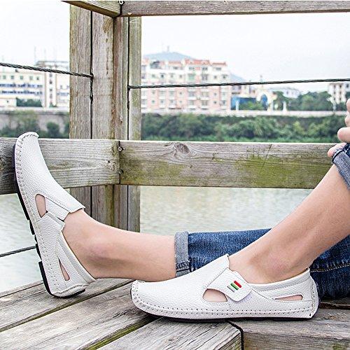 Mens Casual In Morbida Pelle Da Uomo Casual Slip-on Cut-out Mocassini Driving Shoes White2