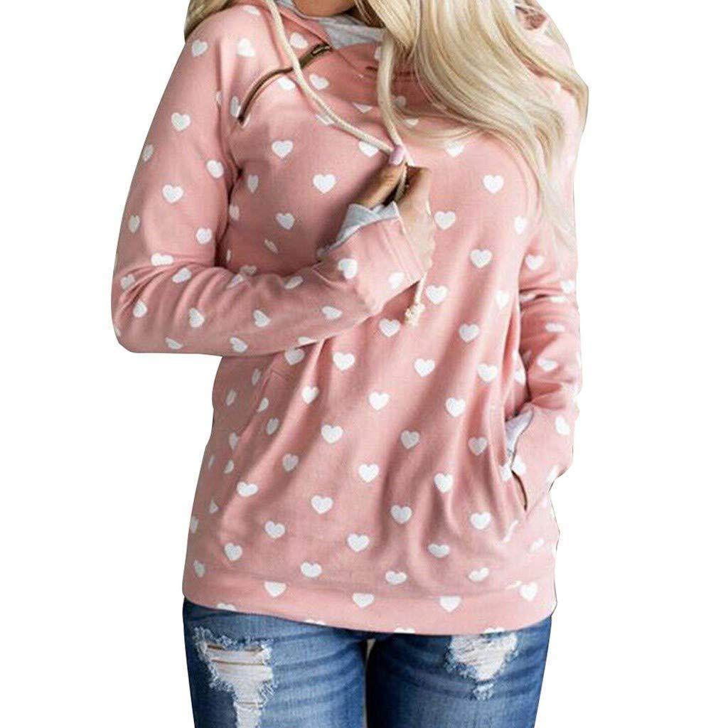 Hot!! Women Oblique Zipper Hoodies Winter Printed Long Sleeve Hooded Sweatshirt Top Jacket Coat