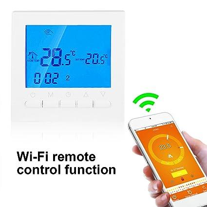 Asixx Termostato, Termostato Digital WiFi, con Pantalla LCD, Control Remoto Wi-Fi