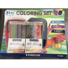 Staedtler Set, 48 Triangular Colored Pencils 2 Nylon Cases Double Hole Sharpener