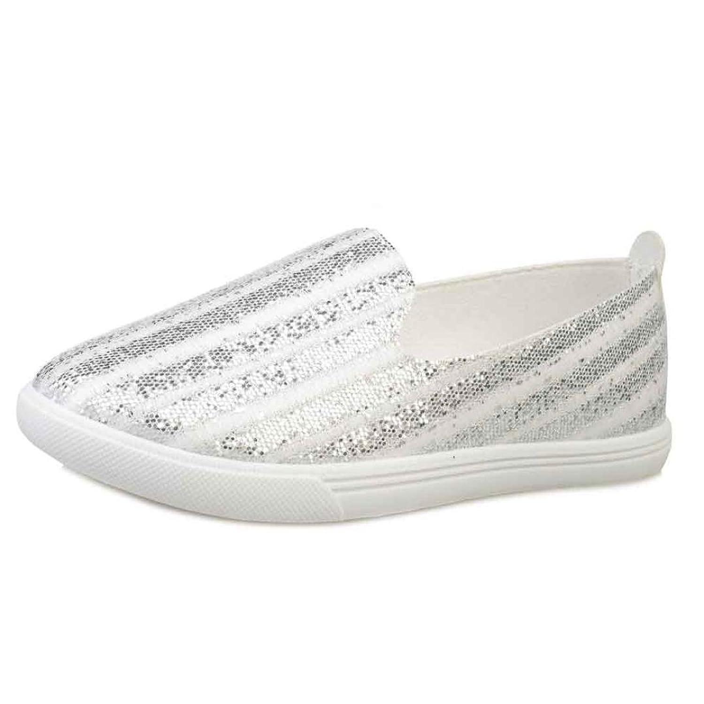 Datework Women Sequins Canvas Flats Breathable Slip Shoes