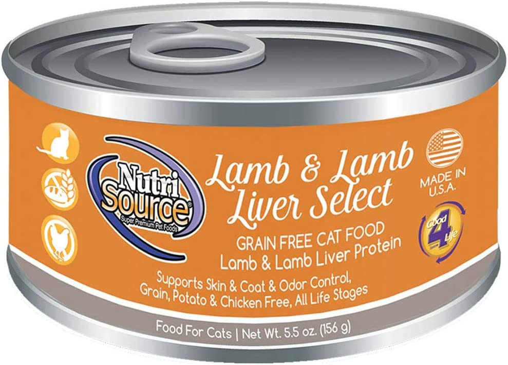 Nutri Source Grain Free Lamb & Lamb Liver Select Canned Cat Food 12/5.5 oz Case