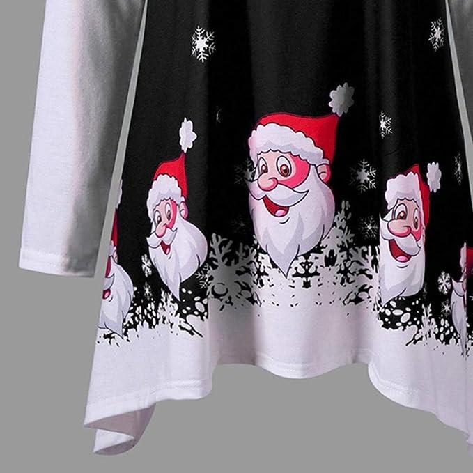 Luckycat Las Mujeres de Moda Feliz Navidad O-Cuello de Manga Larga Sonriendo Santa Claus Print Top: Amazon.es: Ropa y accesorios