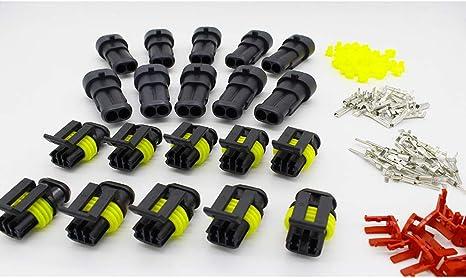 UHAoo 10pcs 2 Pin Filo Way Impermeabile Auto connettore Spina elettrica Set di Ricambio per Veicoli in Nylon