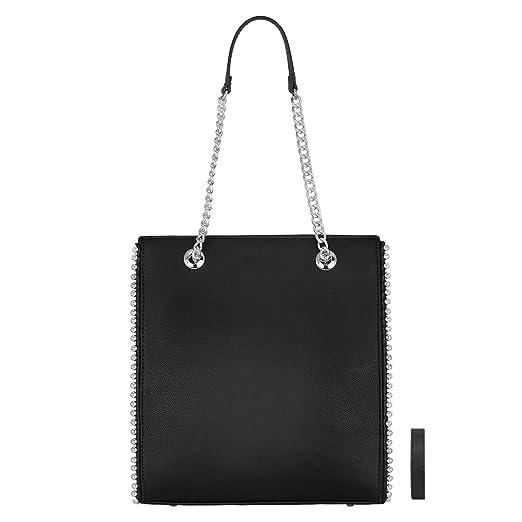 CRAZYCHC - Bolso de Mano Cadena Mujer - Shopper Tote Remaches Perlas - Bolsos de Hombro Cuero Piel PU Mediano - Bolso Compras Rectangular Shopping Bag ...