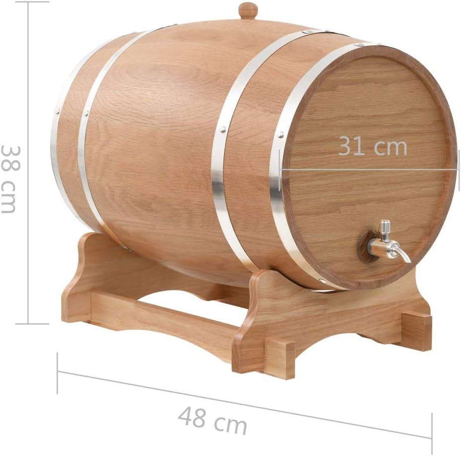 vidaXL Madera Maciza Roble Barril de Vino con Grifo 35 L Dispensador Almacenar