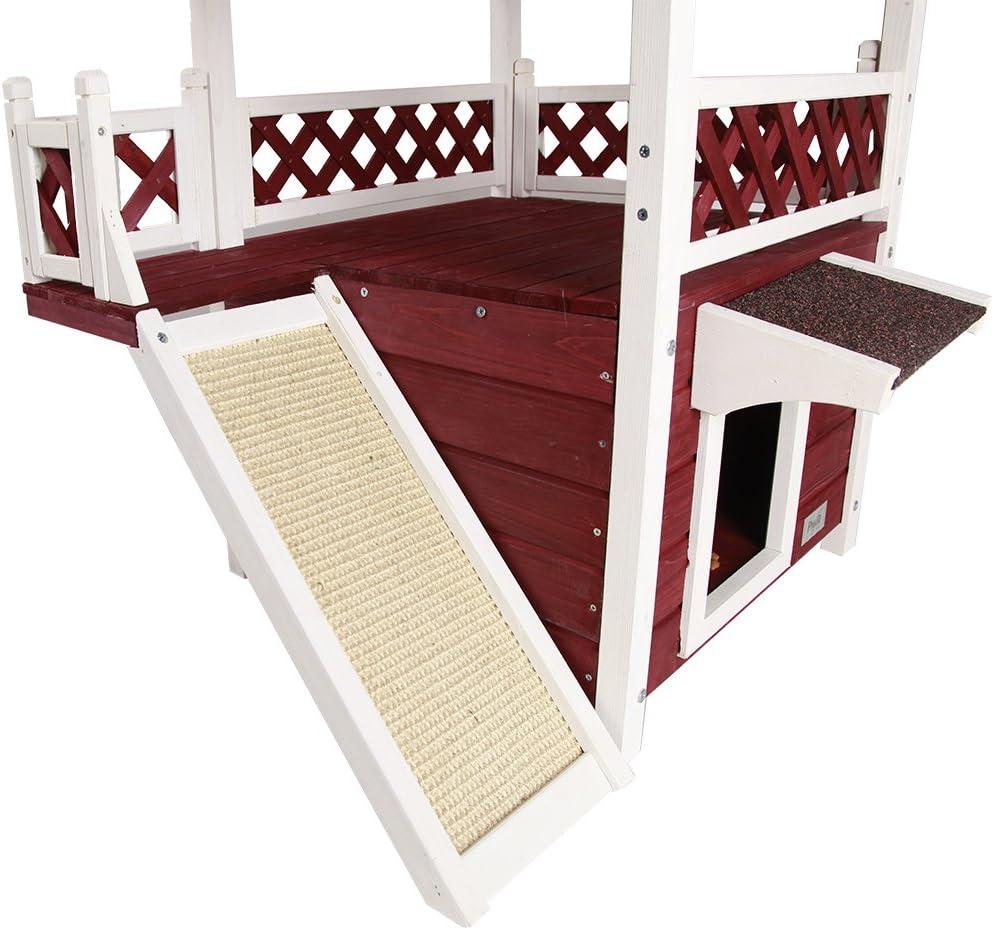Petsfit Rifugio di legno della casa del gatto di Petsfit petalo di legno grigio del cottage di legno rifugio di gatto impermeabile condominio ideale del gatto 76cm x 56cm x 73cm