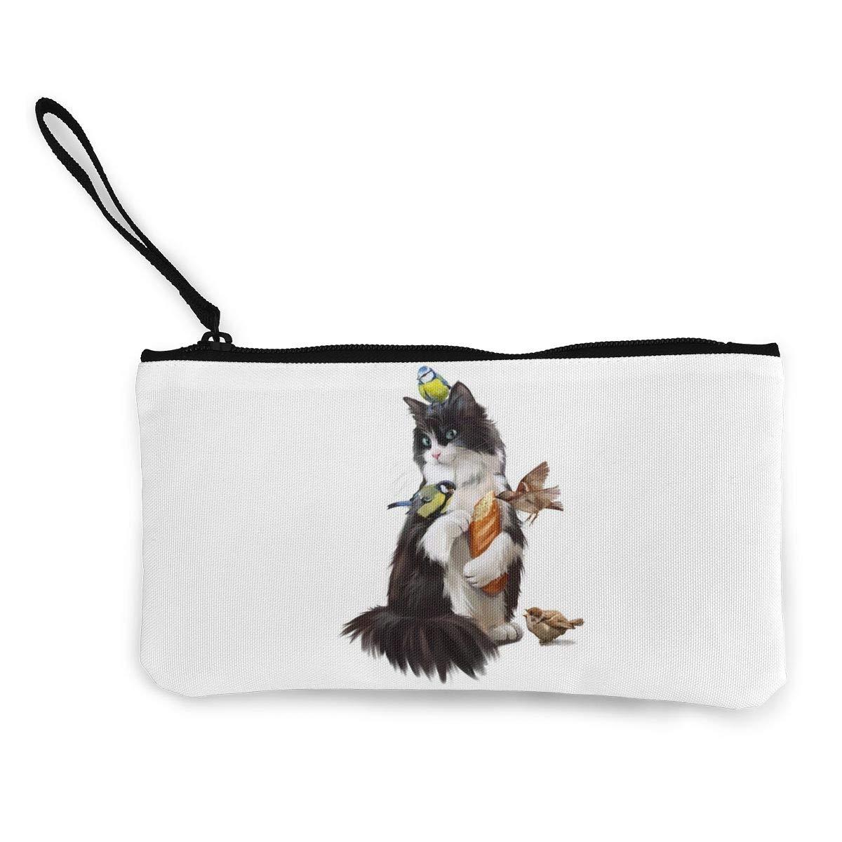 Canvas Cash Coin Purse,Cat /& Birds Print Make Up Bag Zipper Small Purse Wallets