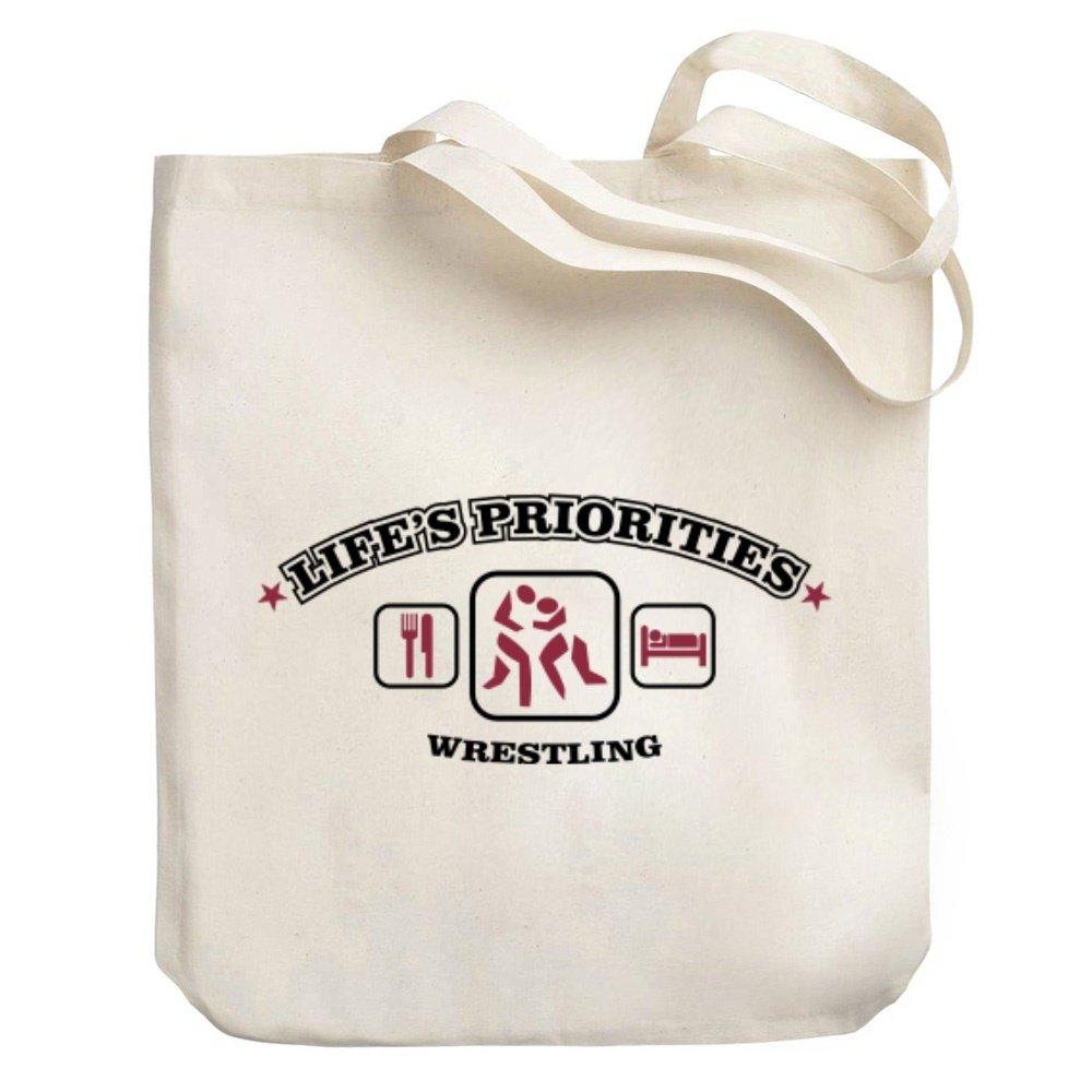 Teeburon Life's priorities Wrestling Canvas Tote Bag by Teeburon