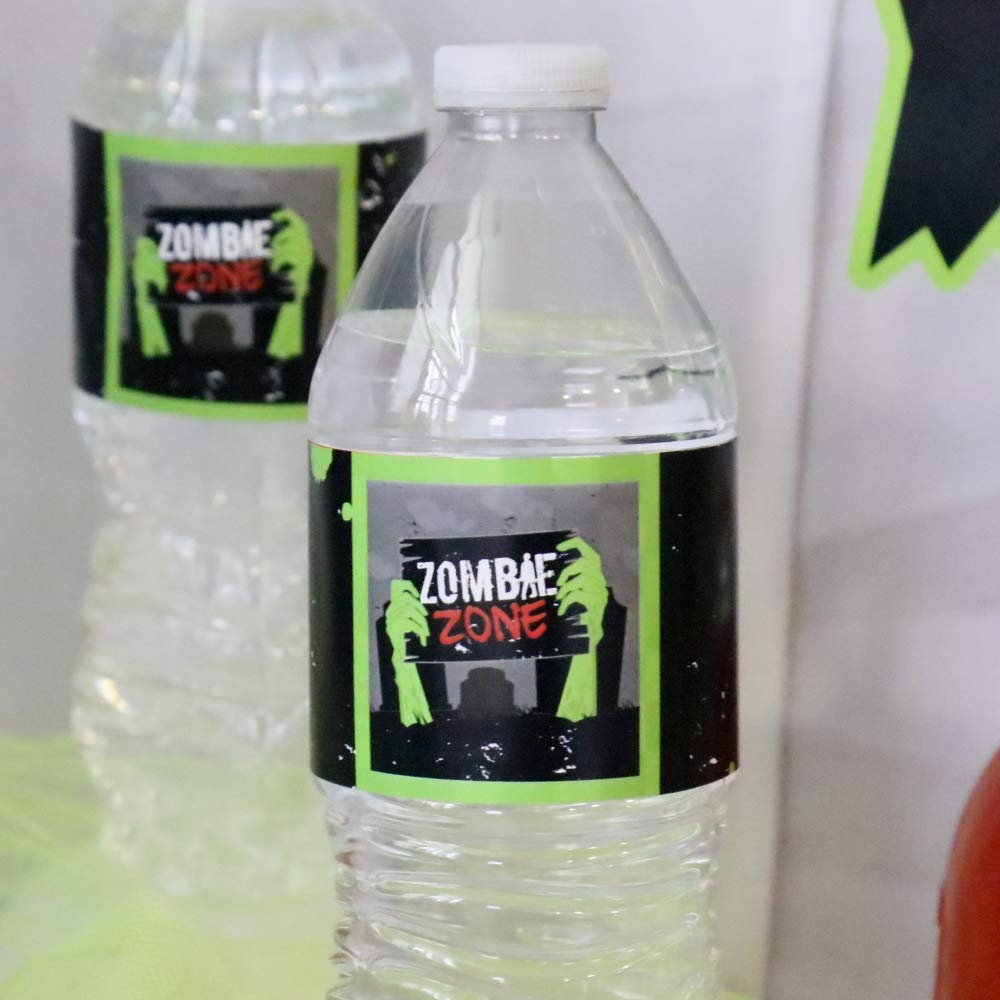 Zombie Zone Set of 20 Halloween or Birthday Zombie Crawl Party Water Bottle Sticker Labels