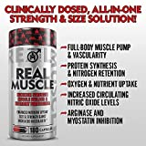 REAL-MUSCLE-Muscle-Building-Testosterone-Booster-for-Men-Nitric-Oxide-Mass-Builder-Supplement-Creatine-HCL-L-Carnitine-Nutrient-Partitioning-Weight-Gainer-Pills-180-Capsules-30-Day-Cycle