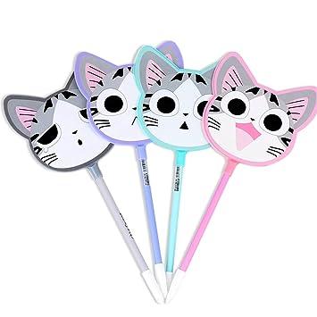 Zhi Jin 12pcs Cute gatos conjunto de bolígrafos de ventilador Animal bolígrafo, punta fina tinta negra bolígrafo de Gel oficina escuela Estudiantes regalo, ...
