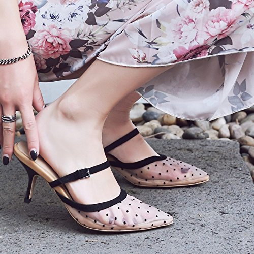 Moda 34 zapatillas la Transpirable punta y Sandalias los elegante dot ranuradas heels high hilados 7cm AJUNR Compacta Fijaciones Rosa 38 fqdBwfC