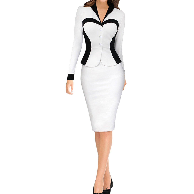 SUNNOW® Damen Kleid Langarm Formal Kontrast-Farben Business V ...