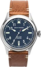 Jack Mason Men's Watch Aviator Brown Italian Leather Strap JM-A101-004