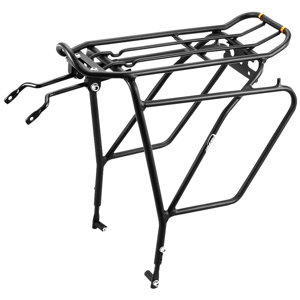 "Ibera Bike Rack - Bicycle Touring Carrier Plus+ for Disc Brake Mount, Frame-Mounted for Heavier Top & Side Loads, Height Adjustable for 26""-29"" Frames"