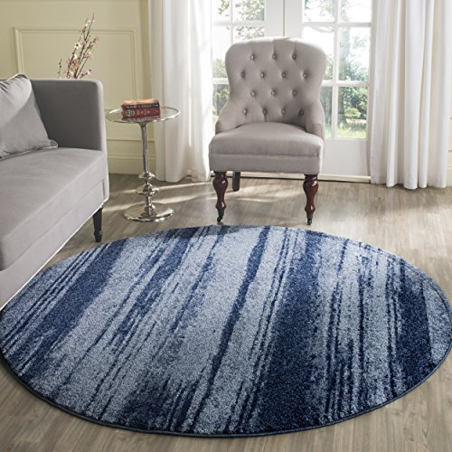 Safavieh Retro Collection RET2693-6065 Modern Abstract Light Blue and Blue Round Area Rug (6' Diameter)