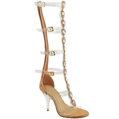 Fashion Thirsty Damen Sandalette mit Transparenten Riemen  Schmucksteinen bis Zum Knie