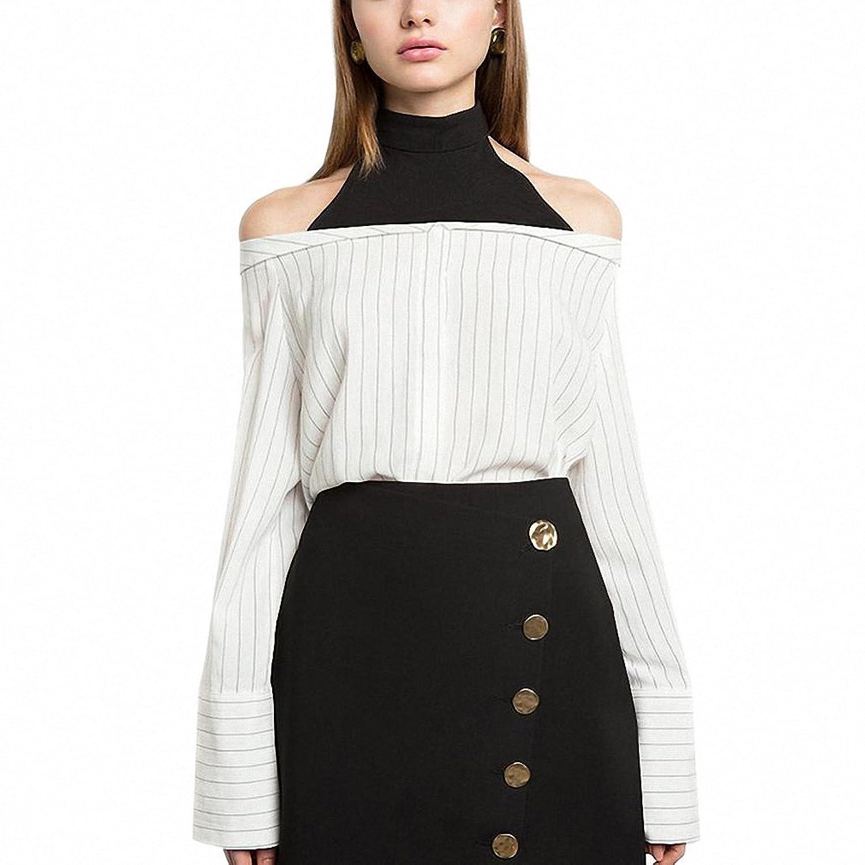 Women Shirts Stripe White Sweet Shirt Half Choker Off Shoulder Long Sleeve Buttons Blouses at Amazon Womens Clothing store: