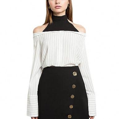 Women Shirts Stripe White Sweet Shirt Half Choker Off Shoulder Long Sleeve Buttons Blouses As shown